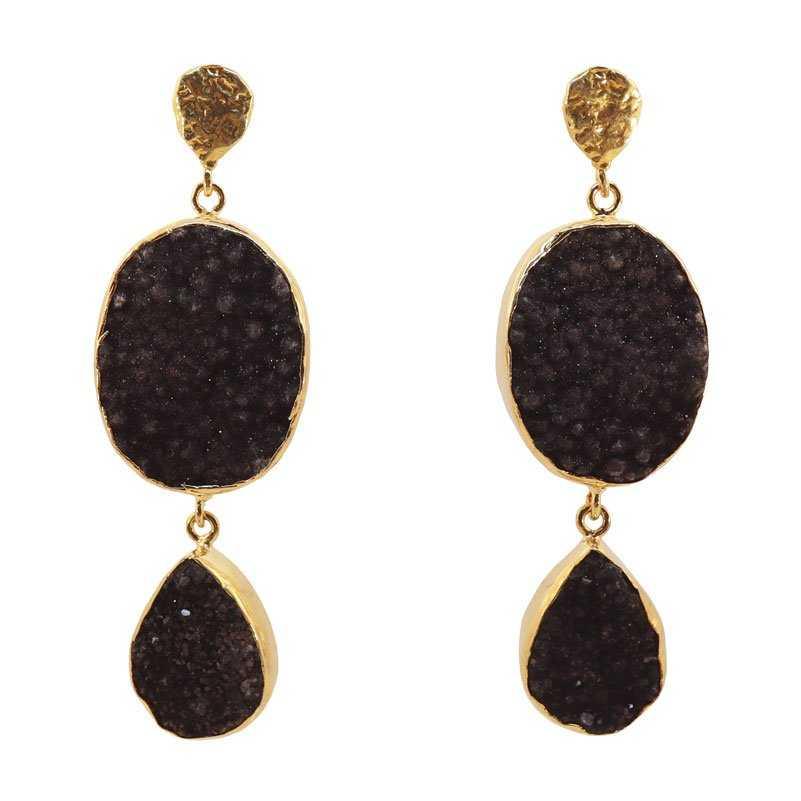 Pendientes naturales dos piedras drusas cuarzo negro
