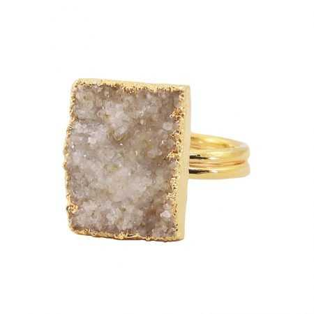 ANILLO DRUSA RECTANGULAR BLANCO