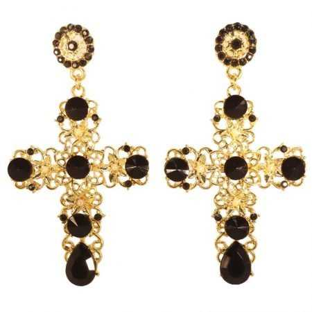 PENDIENTES CRUZ GOLD-BLACK