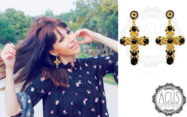 NIKA | Pendientes Cruz Gold-Black