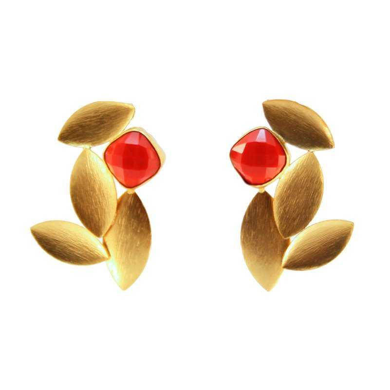 4906675c2e51 Pendientes dorados de piedra natural y pulida de color rojo
