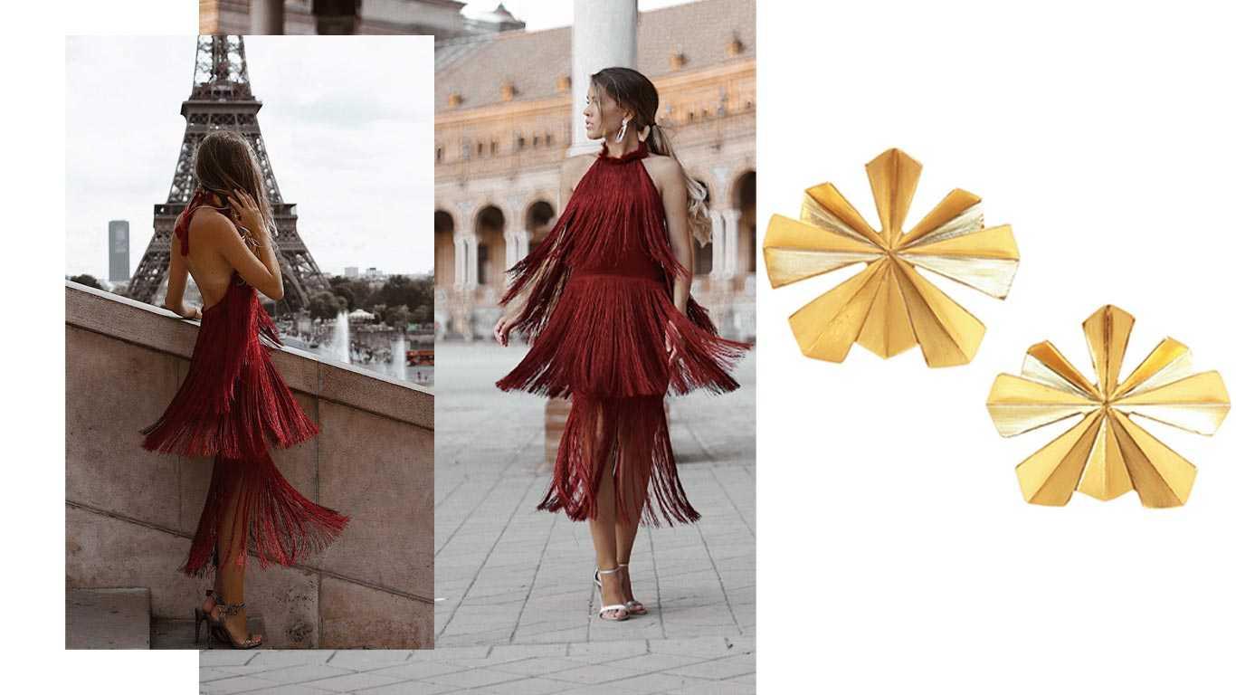 Look invitada vestido burgundy con pendientes Cibeles Big de la colección Metrópolis de Acus Complementos