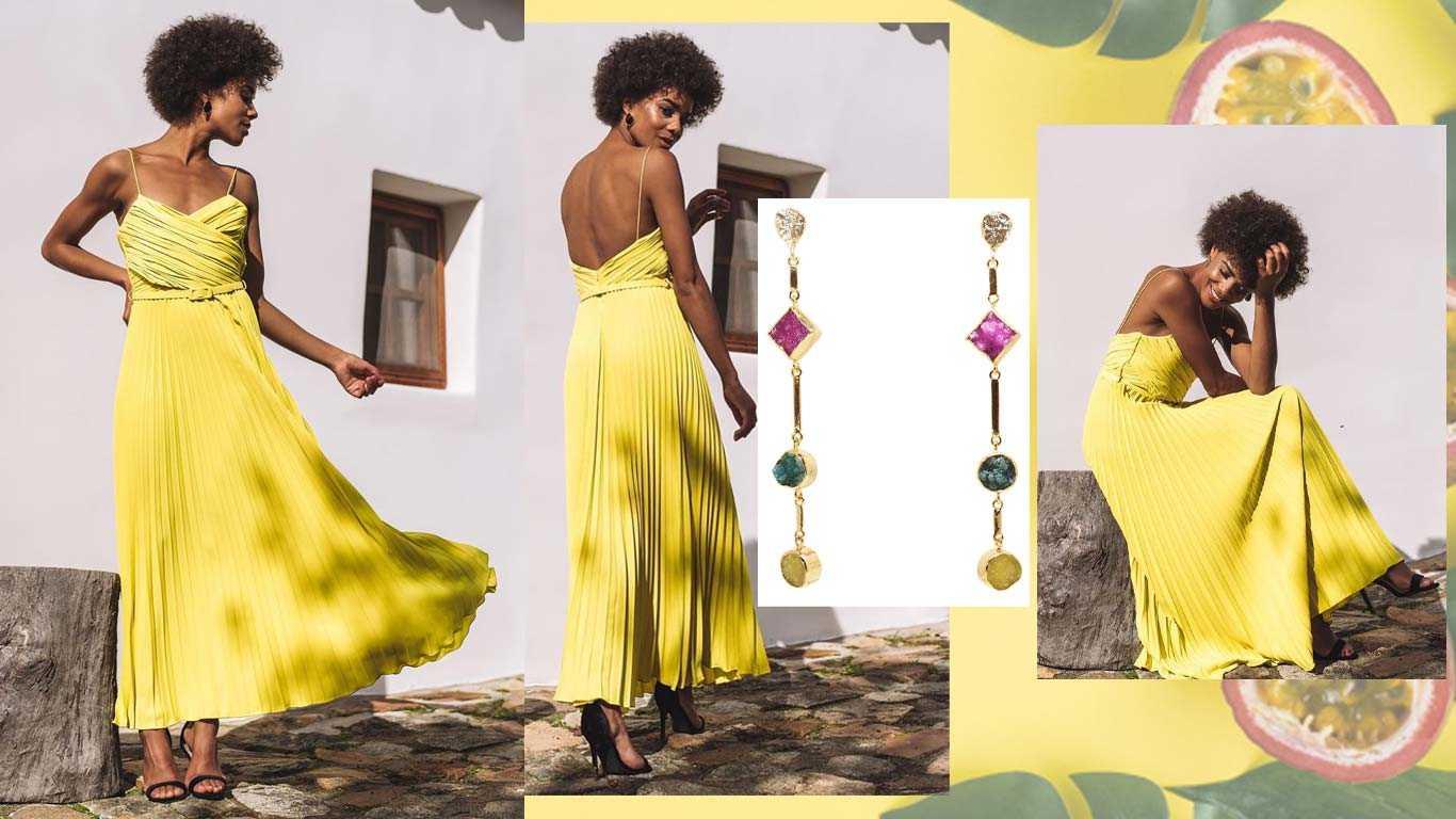Pendientes Atocha Fucsia Mo, Verde y Amarillo para looks amarillos de invitada