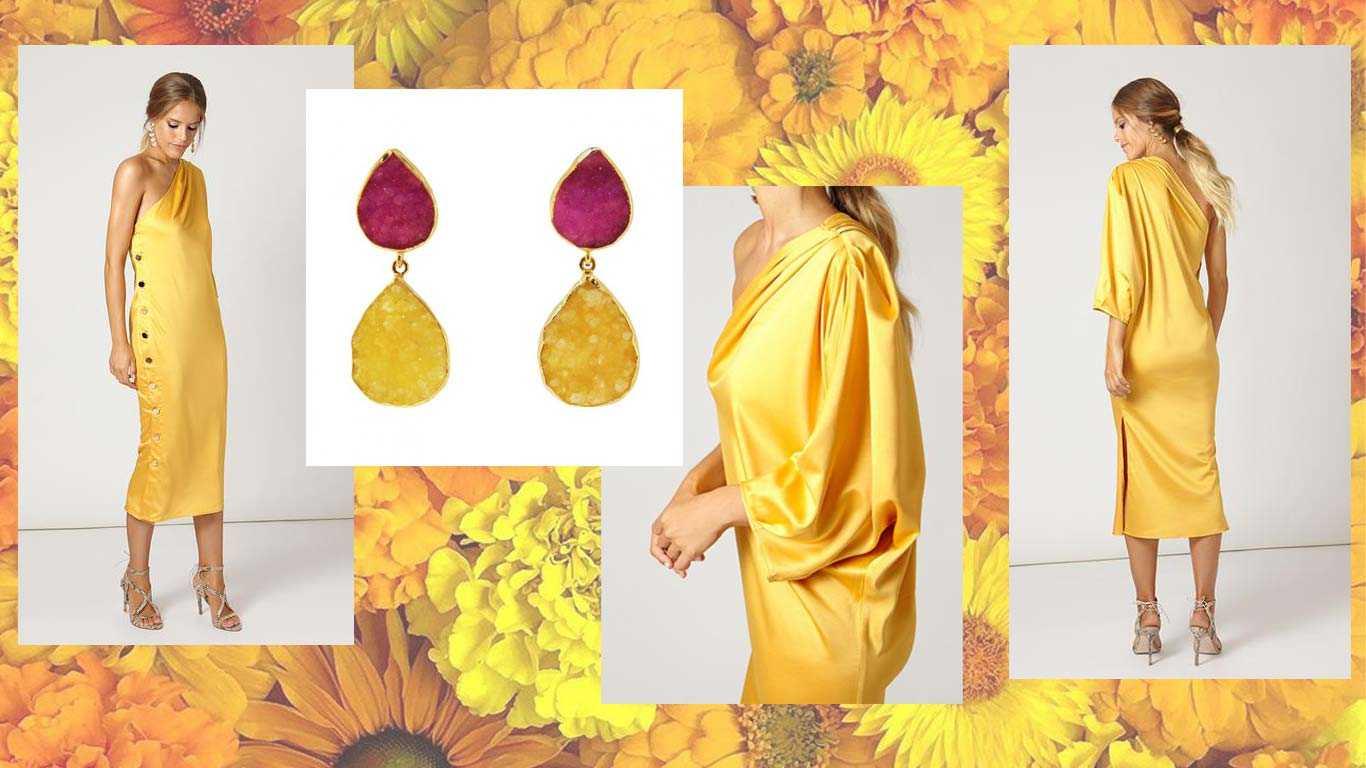 Pendientes Notredame Fucsia y Amarillo para look amarillo de invitada