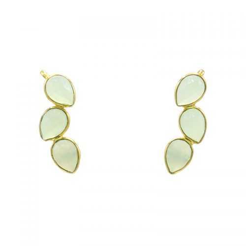 pendientes tipo earcuff en base dorada y con piedras en verde claro