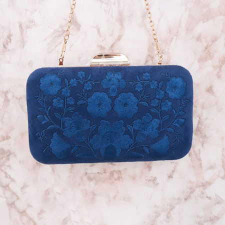 CARTERA INVITADA ESPECIAL AZUL BORDADO