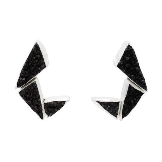 Pendientes-Fénix-Plata-Negro-Acus
