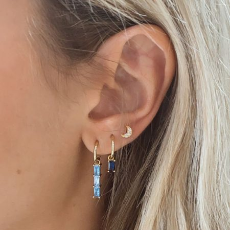 ATTRIUM PENDIENTES MINI AROS BIG GEM PLATA AZUL