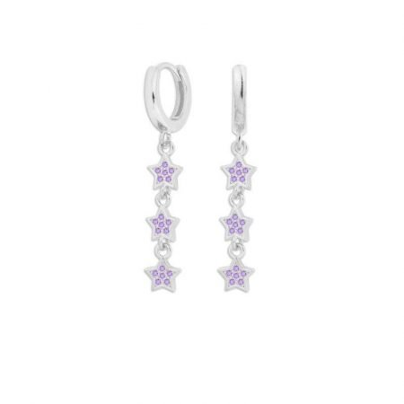 ATTRIUM PENDIENTES AROS STAR PLATA PURPLE