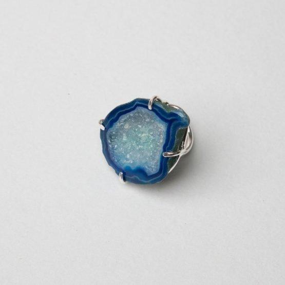 Venta flash-Anillo Geoda plata azul2