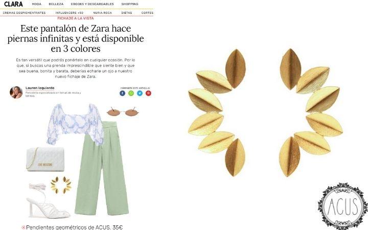 REVISTA CLARA.COM | PENDIENTES AUREA